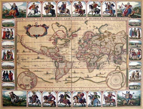 Russboroughvisscher map of the world a richly embellished and extremely rare world map by a seminal dutch mapmaker gumiabroncs Choice Image
